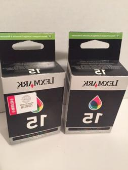 2 Boxes 15 Lexmark Genuine Tri-Color Ink Cartridges for Z232