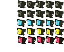 25 Pack Brother Compatible LC 61 10 -Black / 5 Cyan / 5 Mage