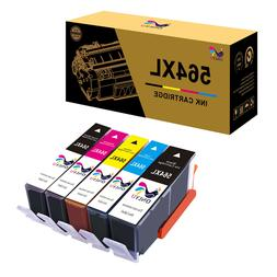 5 Ink Cartridge Combo Pack +Chip For HP 564XL 564 Photosmart