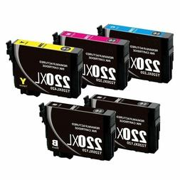 5 Pack Re-Manufactured 220 Ink Cartridges fit Epson XP-320 X