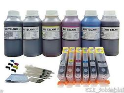 6x250ml refill ink + refillable cartridges for Canon Pixma M