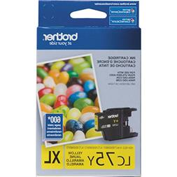 Brother Printer LC75Y High Yield  Yellow Cartridge Ink - Ret