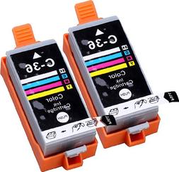 2 Pack Compatible Canon CLI-36 2 Tri Color for use with Cano