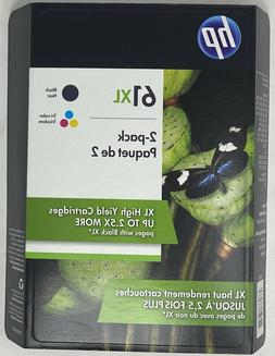 Genuine HP 61XL Ink Black and Tri-Color Combo in Retail Box.