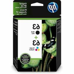 New! Genuine HP 63 Combo Pack 1-Black & 1-Color Ink Cartridg