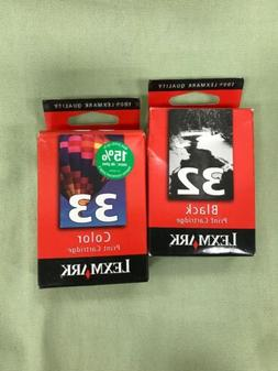 Genuine NEW LEXMARK Color 32 And 33 Ink Cartridge Combo-  Ne