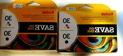Lot Of 2 Kodak Ink 2 in 1 Combo Pack #30 Tri-Color & Black I