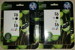 Lot of 2 NEW Genuine HP 61 Ink Cartridges Black/Color Combo