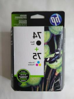 Sealed Genuine Hp 74+75 Ink Cartridges Black + Tri-Color Com